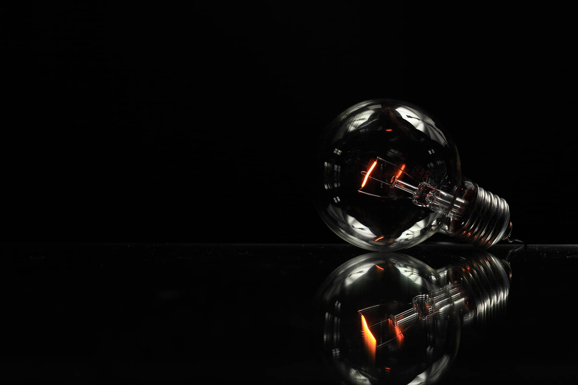 lightbulb in dark room